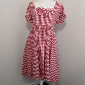 Lindy Bop Red & White Gingham Checked Retro Dress